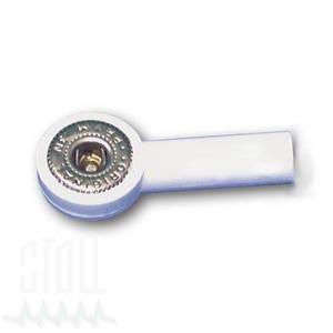 Druckknopfadapter mit 4 mm Bananensteckeranschluss, Farbe: weiss