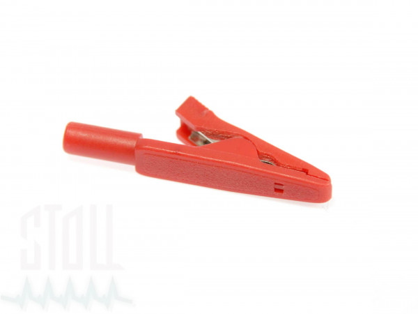 Krokodilklemme rot mit 2 mm Buchse für Klebeelektroden
