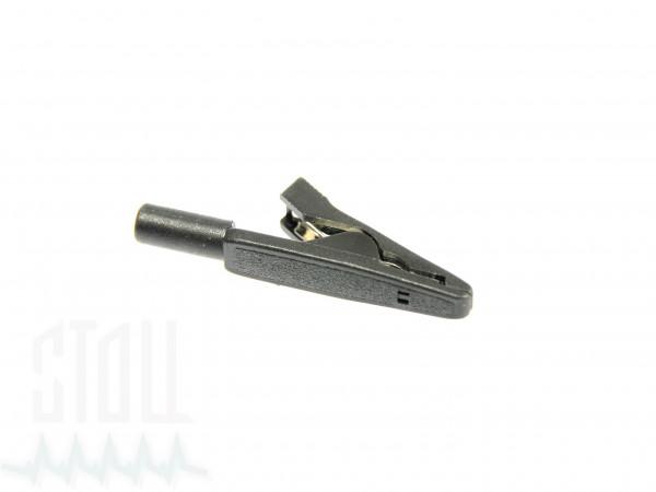 Krokodilklemme schwarz mit 2 mm Buchse für Klebeelektroden