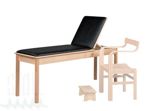 Therapieliege, aus klarlackiertem Holz für Mikrowellen- & Kurzwellentherapie